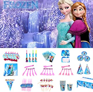 Nidezon Frozen Party Supplies Pack, Elsa Birthday Party Decorations 160 Pieces For 10 Guests With Plates, Napkins, Tablecover, Cups, backdrop, table cloth,invitation card-Serves 10 Guest