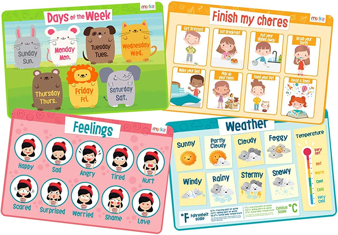 Merka Educational Placemats For Kids My Day Set Bundle Of 4 Mats Days Of The Week Feelings Weather Chores Non Slip Washable And Reusable Learn About Emotions Responsibilities And More