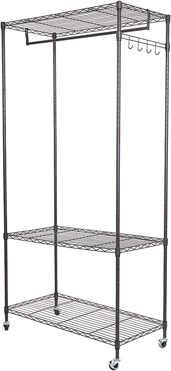 KARMAS PRODUCT 3 Easy-to-use Tiers Wire Garment Wheels with Bar Hanger Rack Super special price