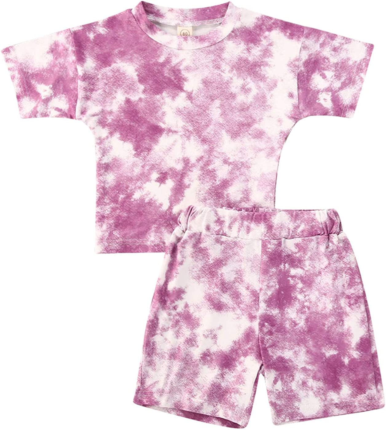 2PC Toddler Baby Girl Tie-Dye Shorts Set, Short Sleeve T-Shirt Top and Short Pants Tie Dye Print Casual Clothes