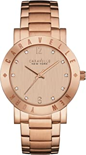 Caravelle New York 44L201 Rose Gold Etched Dial Watch
