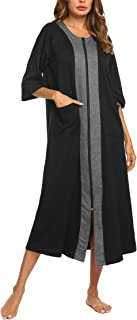 Women Zipper Robe Half Sleeve Loungewear Full Length Nightgown Duster Housecoat with Pockets S-XXL