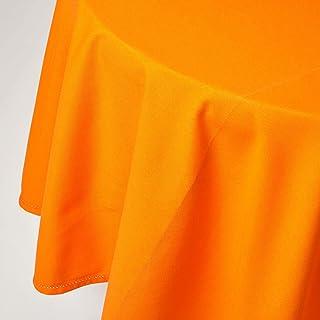 HOMESCAPES Nappe de Table Ronde, Linge de Table en Coton uni Orange - 178 cm