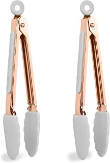 """COOK with COLOR Tongs for Cooking Stainless Steel and Silicone Set of Two 6"""" Rose Gold MINI Nonstick Kitchen Tongs with Silicone Tips Small Tongs Appetizer Tongs Sugar Tongs Salad Tongs (White)"""