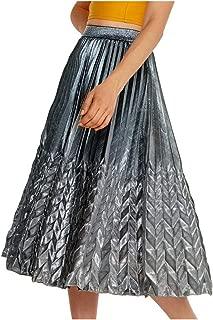 cheeseri Fashion - Falda para Mujer (Media Longitud, con Forma de A, Cintura Alta, elástica, Plisada), Color Dorado