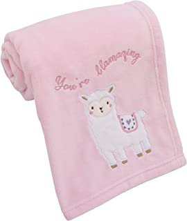 Little Love by NoJo Sweet Llama & Butterflies Super Soft Pink Baby Blanket with Applique & Embroidery, Pink, Ivory