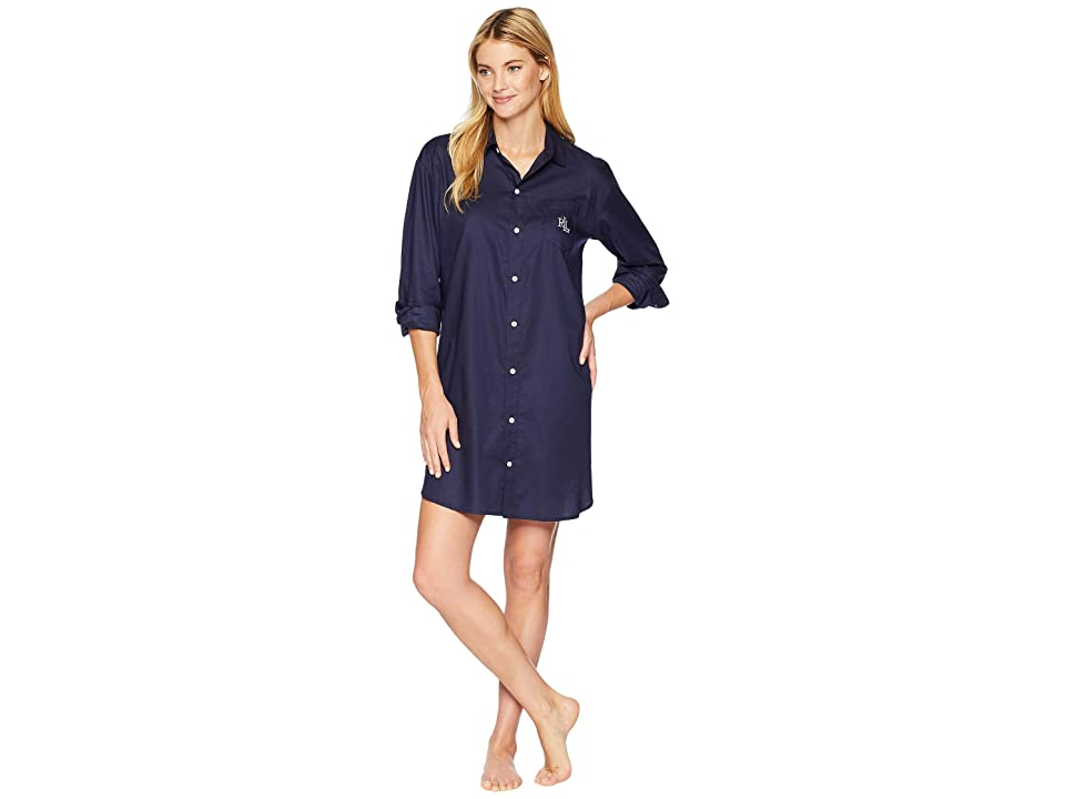 LAUREN Ralph Lauren Cotton Dobby Sleepshirt (Navy) Women