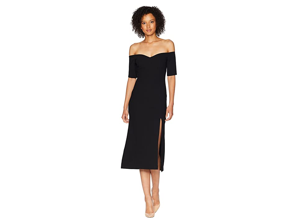 JILL JILL STUART Off the Shoulder Elastane Midi Dress (Black) Women