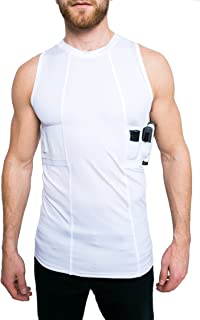 Gun Holster Tank Top Shirt Concealed Carry Clothing for Men - Easy Reach Gun Concealment Sleeveless Top Tank Tactical Compression CCW Shirt