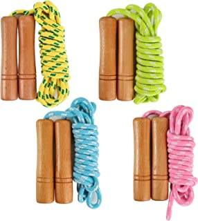 Suwimut 4 Pack Cotton Jump Rope for Kids, Wooden Handle Adjustable Cotton Braided Skipping Rope for Boys and Girls Outdoor...