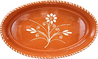 Vintage Portuguese Traditional Clay Terracotta Pottery Oval Casserole Made In Portugal (N.1 12 1/4 x 8 x 2 5/8