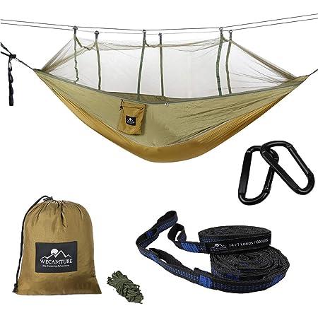 Wecamture ハンモック 蚊帳付き パラシュート 耐荷重 超広い 2人用 収納袋付き カラビナ付き 折畳み 公園 ハイキング 持ち運び簡単 (グリーン)