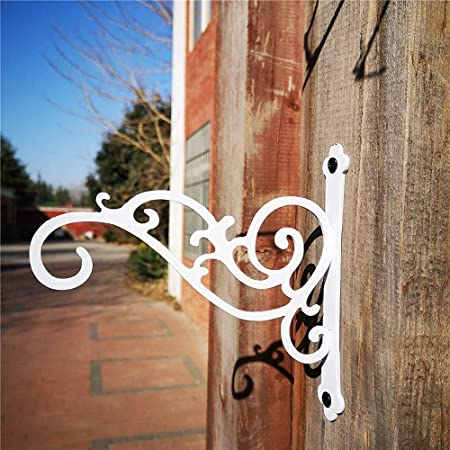 Sunshine Iron Metal Hanging Planter Bracket, 2 Pack Wall Hooks for Hanging Birds Feeders, Latern, Wind Chimes, Coat, Decorative Indoor Outdoor (White)