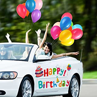 Reflective Automotive Birthday Kit, Birthday Parade Car Decoration Magnets Colorful Happy Birthday Magnets, Cake Balloon P...