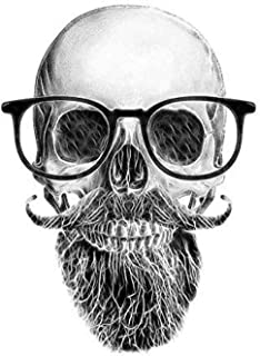 11.4Cm X 15.6Cm Funny Car Sticker Skull Mustache Beard Glasses Decal Car Accessories 2.Pcs Self-Adhesive and Easy Stripping Can Work On A Clean and Dry Surface
