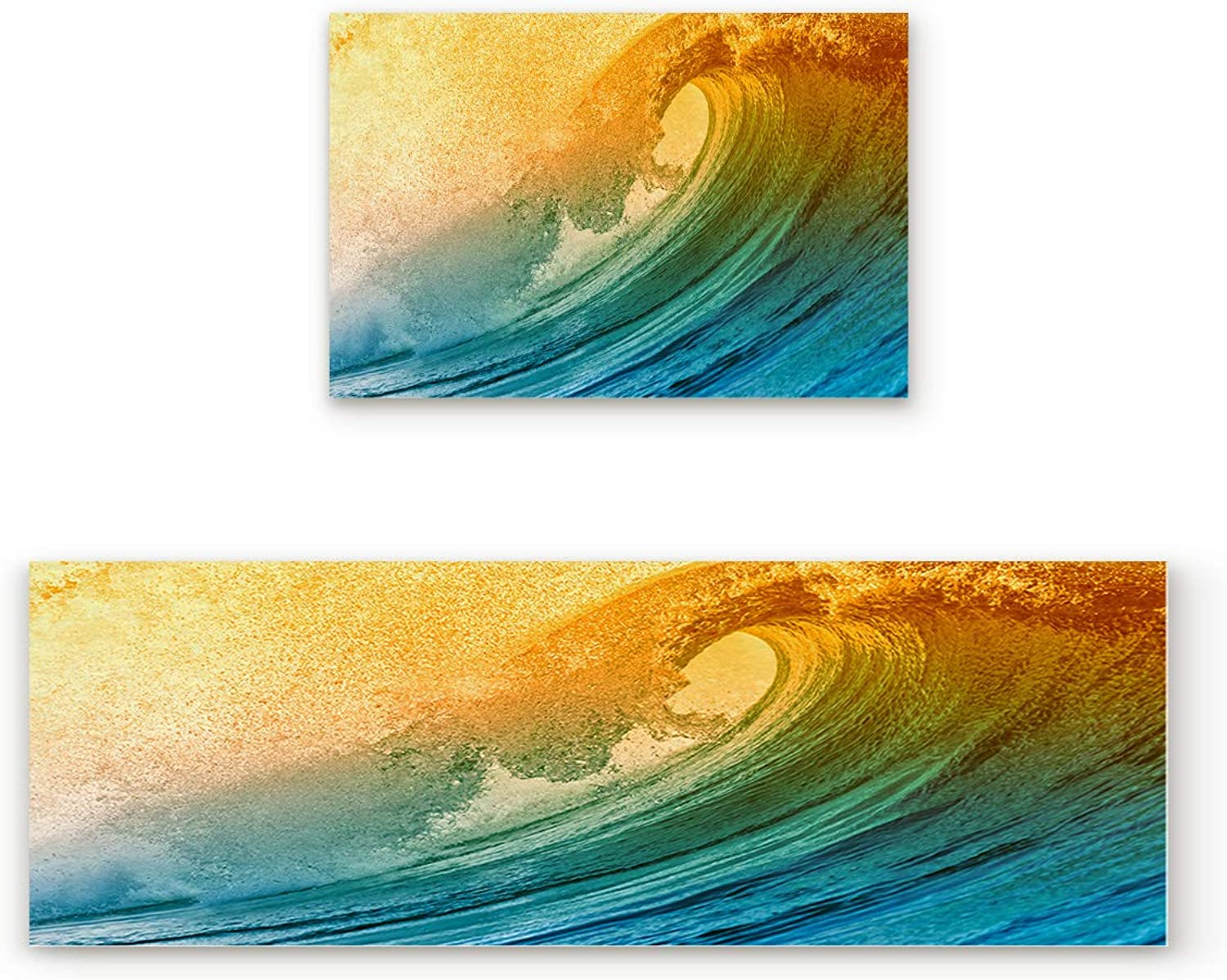 Aomike 2 Piece Non-Slip Kitchen Mat Rubber Backing Doormat Magnificent Roaring Ocean Wave Runner Rug Set Hallway Living Room Balcony Bathroom Carpet Sets (23.6  x 35.4 +23.6  x 70.9 )