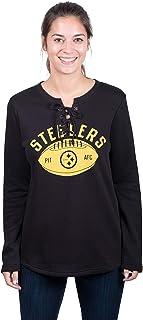 Icer Brands NFL Pittsburgh Steelers Women's Fleece Sweatshirt Lace Long Sleeve Shirt, Large, Black