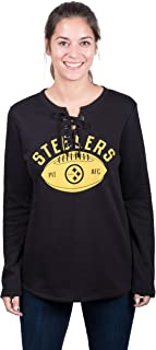 Icer Brands NFL Pittsburgh Steelers Women's Fleece Sweatshirt Lace Long Sleeve Shirt, Large, Black