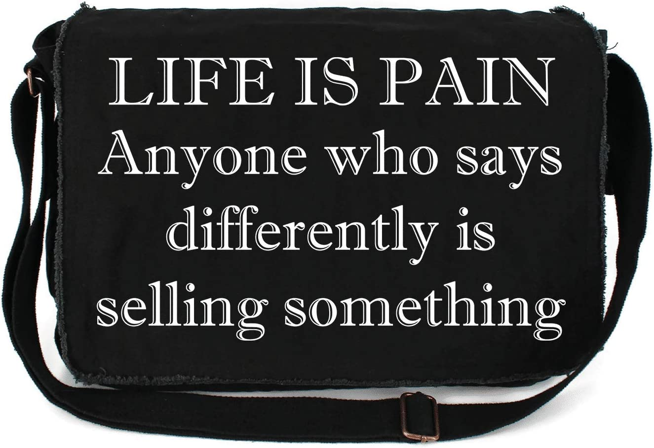 HARD NEW before selling ☆ EDGE DESIGN Life is Pain Printed Custom Raw Mes Edge Free shipping / New Canvas