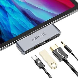 AGPTEK 4 EN 1 Hub USB C para iPad Pro 2018, 2020, Adaptador USB C a HDMI 4K, Auriculares de 3.5 mm, Carga PD, Compatible c...
