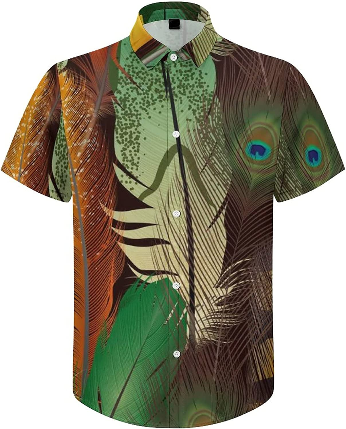 Mens Button Down Shirt Realistic Pattern Feathers Casual Summer Beach Shirts Tops
