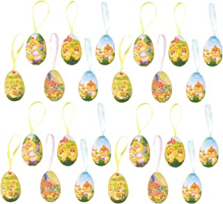 24 Pack Easter Egg Ornaments Home Decorations - Decorative Hanging Easter Eggs for DIY Crafts and Assorted Easter Decorations, Chick Designs, 2.5 x 1.5 x 1.5 Inches