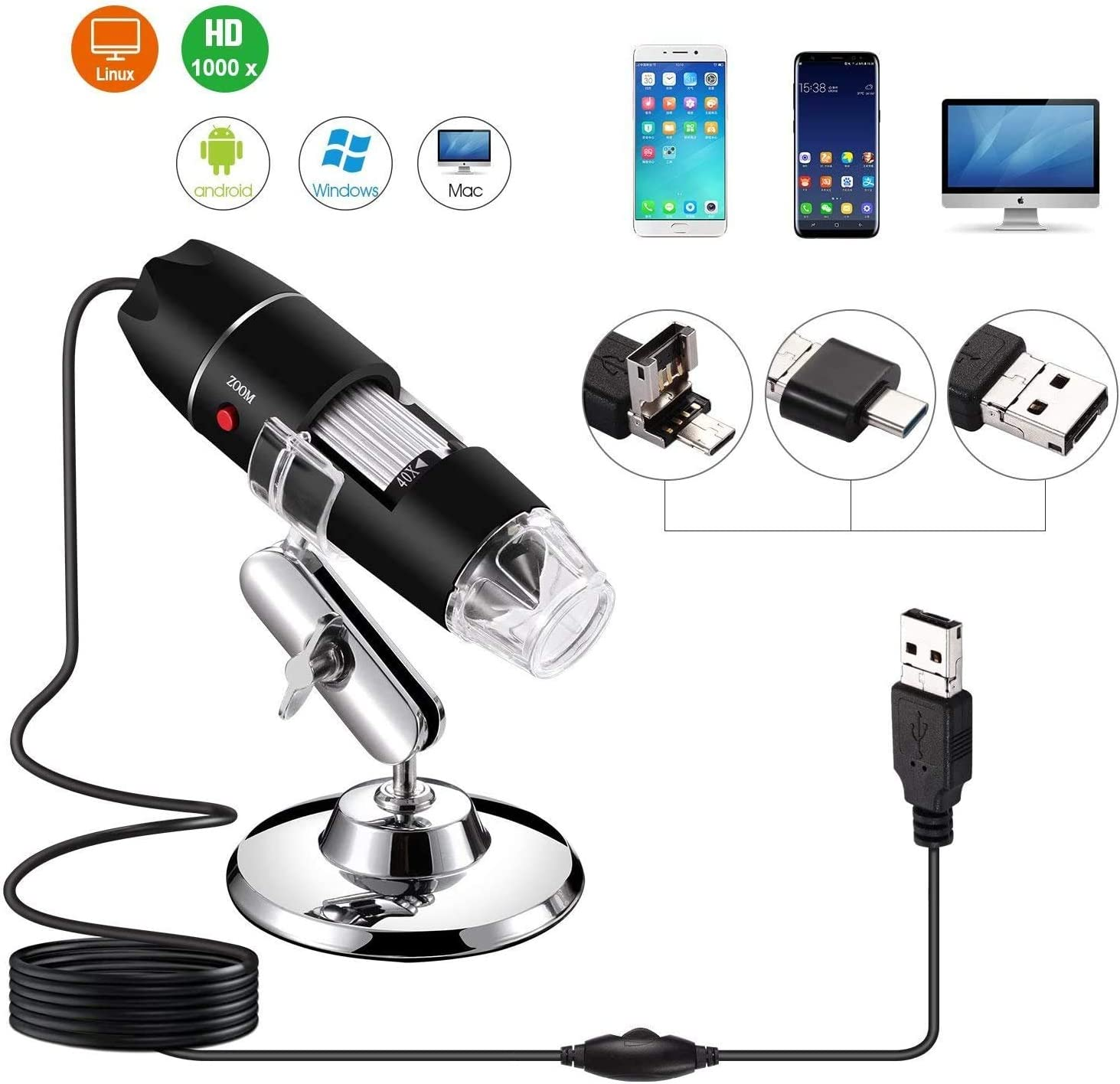 Size:1000x Compatible With Mac Window Android Linux Portable 500x To1600x Magnification Endoscope Handheld USB HD Inspection Camera 8 LED USB 2.0 Digital Microscope With OTG Adapter And Metal Stand