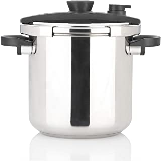 Zavor EZLock 12.7 Quart Stove-top Pressure Cooker & Canner with Dual Pressure Settings, Universal Locking Mechanism, Recipe Book and Steamer Basket - Polished Stainless Steel (ZCWEZ22)