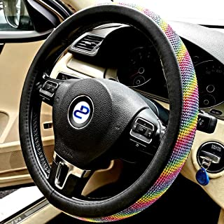 DC Steering Wheel Cover Microfiber Leather with Bling Rainbow Rhinestone, Anti-slip, Universal 15