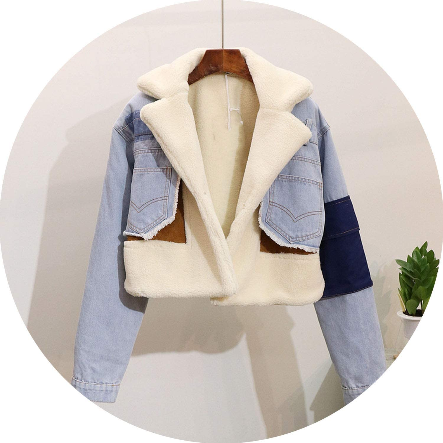 Winter Warm Thick Denim Jacket Coat Women Casual Patchwork Denim Jackets Outwear
