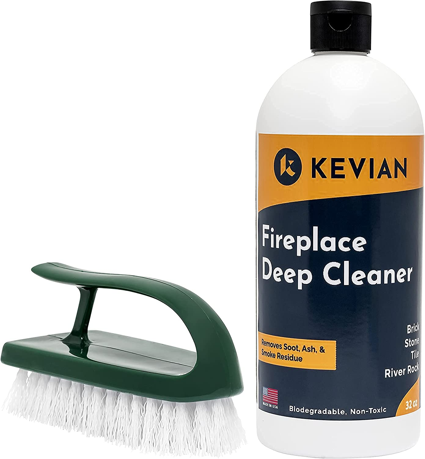 Kevian Fireplace Deep Cleaner - Heavy Duty Cleaner/Remover for Brick, Stone, Tile, and Rock Fireplaces - Removes Soot, Creosote, Smoke, and More - Brush Included, 32oz Kit