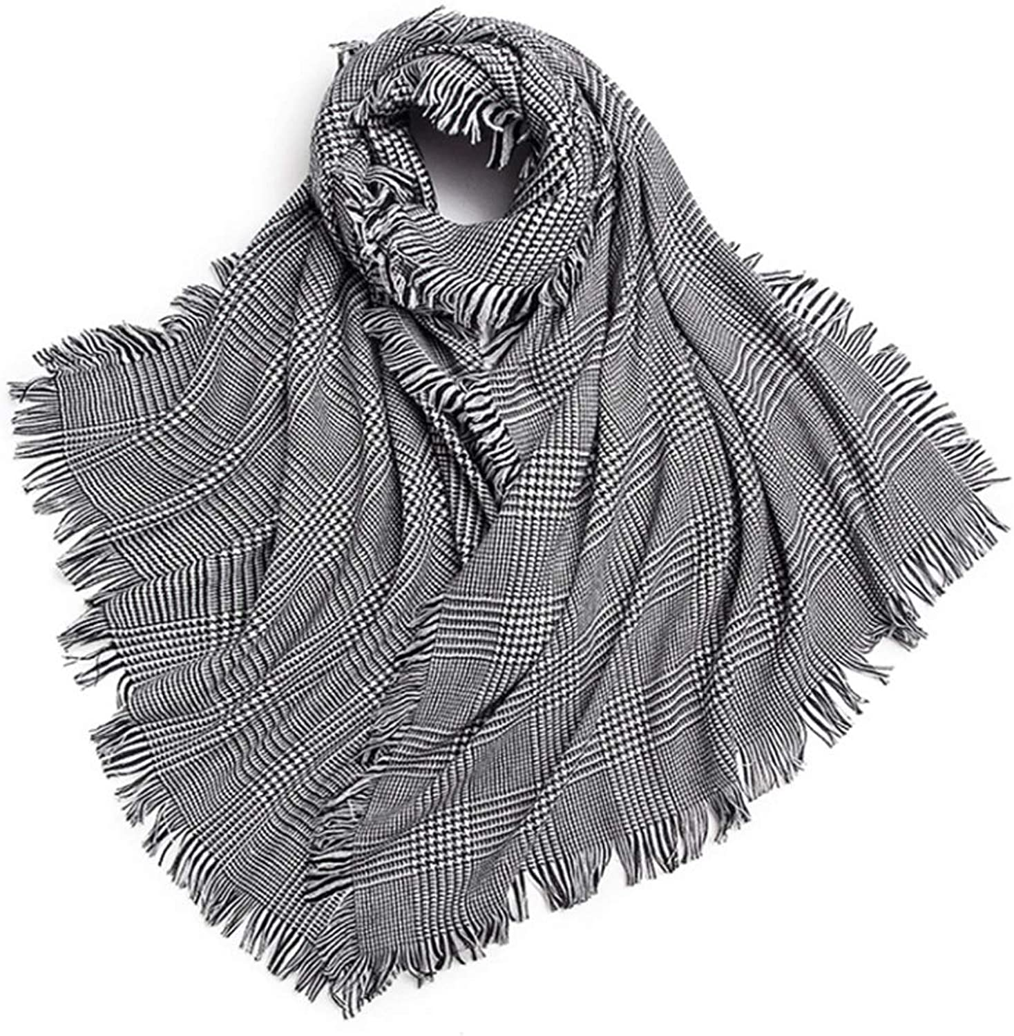 CHX Shawl Soft and Warm Warm Houndstooth Shawl in Autumn and Winter V (color   Black and White)
