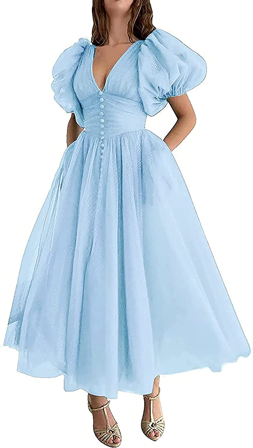 Tianzhihe Women's Dotted Ball Gown Tulle A-line Evening Dress Vintage Prom Sweet 16 Princess Dresses with Pockets