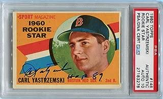 Carl Yastrzemski signed HOF 89 1960 Topps RC ROOKIE CARD Graded 10 autograph - PSA/DNA Certified - Baseball Slabbed Autographed Cards