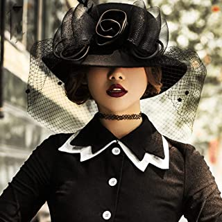 YANGBM Women's Wool Felt Hat, Mesh Bow Banquet Hat, Breathable is Not Hot and Not Easy to Deform (Color : Black)
