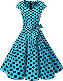 DRESSTELLS Women's Vintage Tea Dress Prom Swing Cocktail Party Dress with Cap-Sleeves