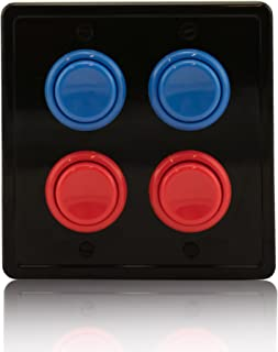 Arcade Light Switch Plate Cover, (Black/Red Red,Blue Blue) Double Switch, 2-Gang Standard Size Rocker Wall Plate, Game Room Decorator, Kid Bedroom Wallplate, Faceplate Replacement