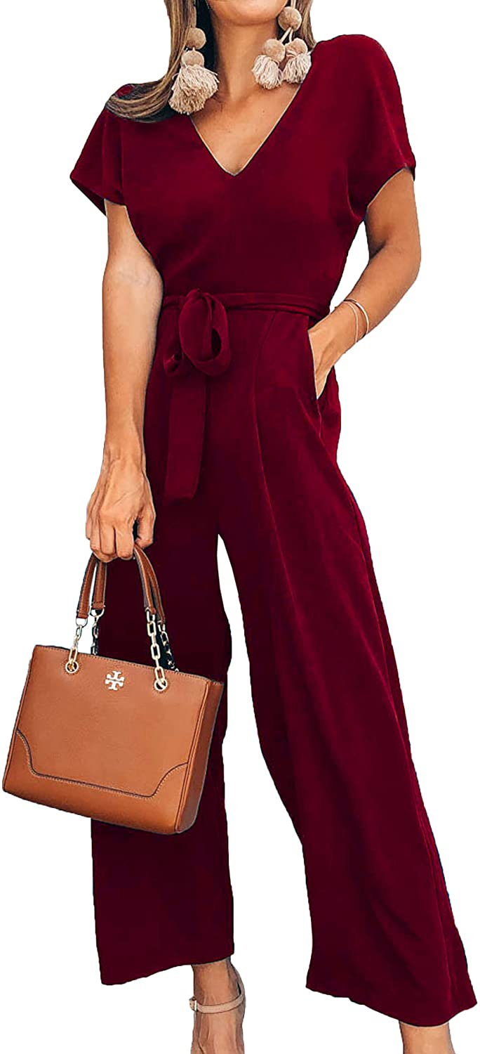 ECOWISH Women V Neck Short Sleeves Tie Waist Jumpsuits Long Wide Pants Casual Jumpsuit with Pockets