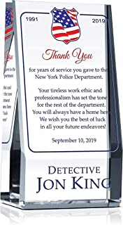 Personalized Crystal Policeman Retirement Gift Plaque for Him or for Her, Customized with Officer's Name, Service Period, Unique Retirement Award for Police, Sheriff, Law Enforcement Officer(XL-10)