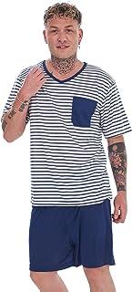 Regular Plus Sizes Pyjama Short Set Striped V-Neck Short Sleeve Cotton Blend PJs