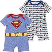 DC Comics Baby Boys' Batman or Superman 2-Pack Rompers