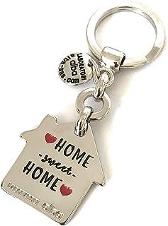 Laboratori Alba Portachiavi in Metallo Lucido Ciondolo a Forma di Casa Home Sweet Home Smaltato