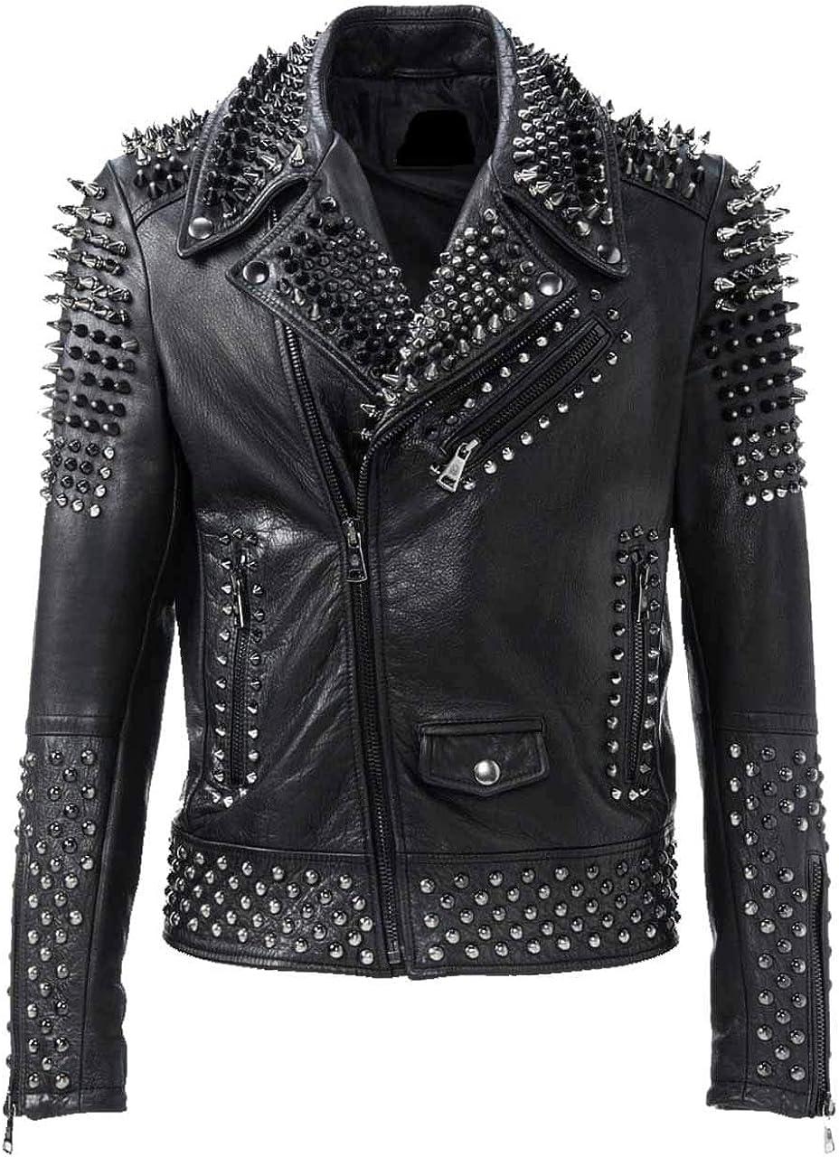 Mens Brando Motorbike Rock Punk Spike Studded Motorcycle Biker Leather Jacket