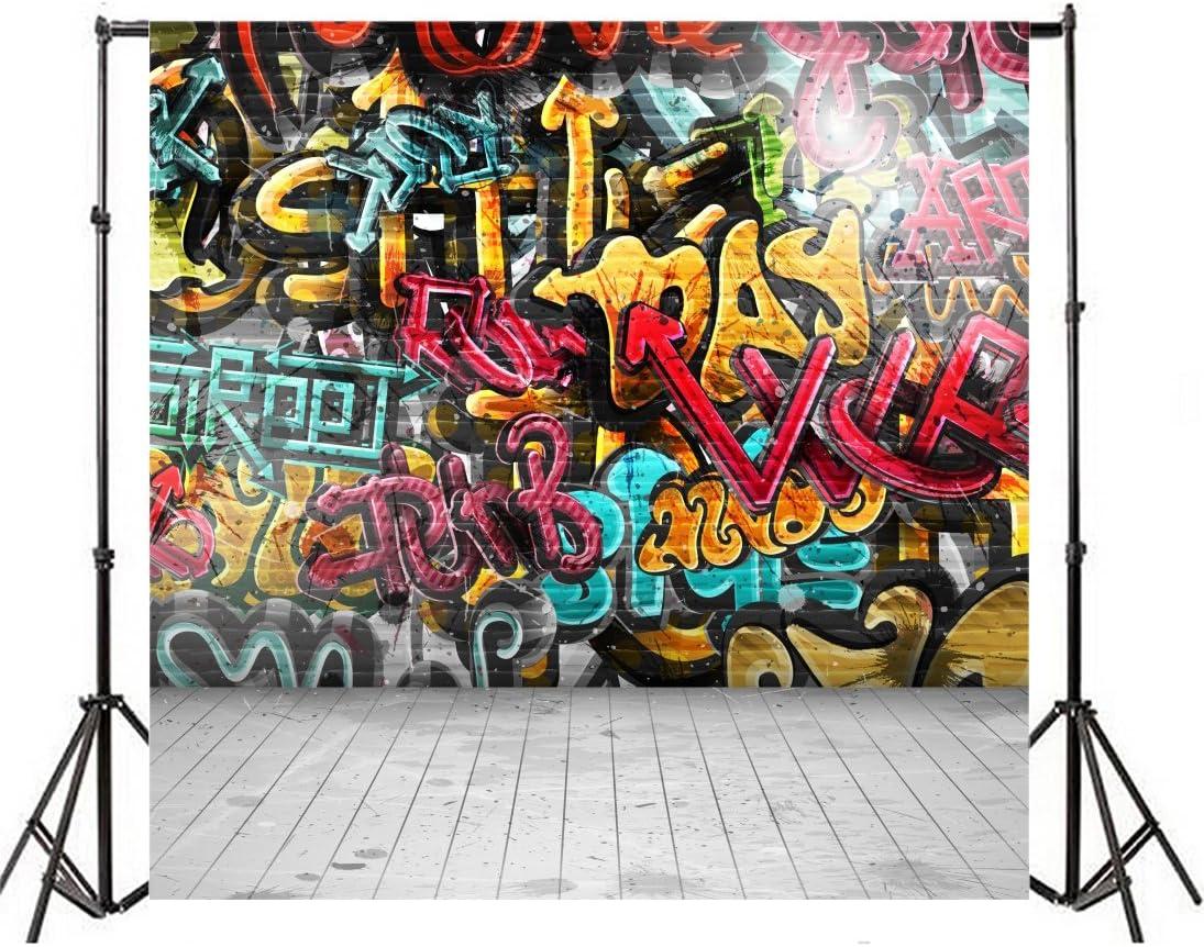 Leowefowa 10X10FT Vinyl Photography Backdrop Graffiti Hand Drawing Color Paint Artistic Wall Nostalgia Stripes Wood Floor Background Kids Children Adults Photo Studio Props