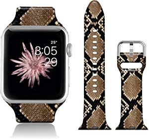 FTFCASE Sport Watch Bands Compatible with iWatch 40mm 38mm iWatch SE & Series 6 - Brown Python Pattern, Flower Printed Soft Silicone Strap Replacement for iWatch Series 6 5 4 3 2 1 for Women Men
