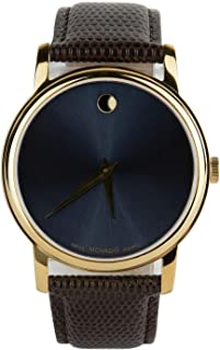 Movado Museum Blue Dial Brown Leather Strap Gold Bezel Men's Swiss Watch