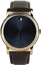 Movado Museum Blue Dial Brown Leather Strap Gold Bezel Men's Swiss Watch