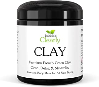 Clearly CLAY, Deep Pore Cleansing, Moisturising, Skin Softening Face Mask I 100% Pure French Green Clay I For Acne, Blackh...