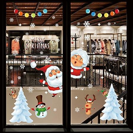 Christmas Moon Night Stickers Snowflake Window Glass High Decals Wall T5U1