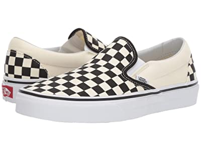 Vans Classic Slip-Ontm Core Classics (Black and White Checker/White (Canvas)) Shoes